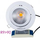 Spot encastrable 30W LED COB orientable pour denrées boucherie charcuterie D190x143mm découpe 180mm
