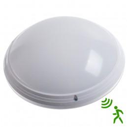 Plafonnier rond LED 18W avec détecteur de mouvement temporisation et distance de détection réglables blanc pur 840 IP65