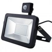 Projecteur HV LED ultra plat 50W SMD2835 IP65 avec détecteur PIR blanc pur coque noire