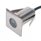 Spot encastrable carré 1W IP67 / IK08 3000°K D42x42mm H60mm découpe Ø35mm blanc chaud 90°