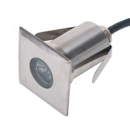 Spot encastrable carré 3W IP67 3000°K Ø42x42mm H60mm découpe Ø35mm blanc chaud 90°