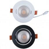 Spot encastrable 12W LED COB orientable blanc chaud Ra97 alimentation Lifud incluse D90x70mm découpe 75mm