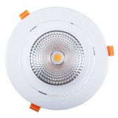 Spot encastrable 40W LED COB Citizen (1210) orientable blanc pur 60° Ra90 D194x129mm découpe 160-175mm alimentation incluse